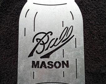 Ball Mason Jar galvanized steel jar sign