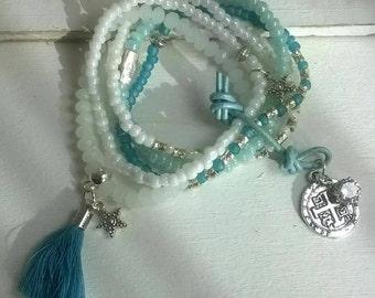 5-piece bracelet set glass beads