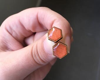 10mm Copper Resin/Bamboo Hexagon Studs • Shimmer • Hex • Glossy • Surgical Steel • Earrings