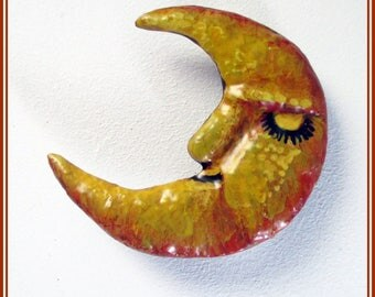 Handmade moon brooch, designer brooch moon pin, gift for her, yellow moon, hand painted brooch, boho moon present, complement moon,
