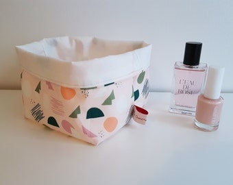 Pink Geometric Collection, fabric storage basket, storage bin, box bin bucket