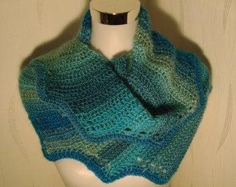 Scarf, Drachenschwanzschal scarf loop cloth green blue shawl