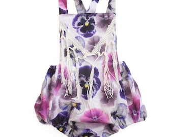 Pansy Romper ~ Purple Pansy Fringed Romper