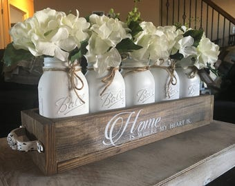 home is where my heart is, table top centerpiece, mason jar centerpiece, anniversary gift, houewarming, mason jar planter box, farmhouse