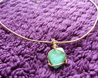 Leather with turquoise necklace