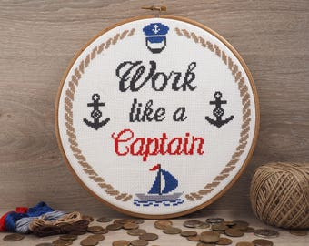 Work like a captain cross stitch pattern Anchor cross stitch Nautical nursery Ocean Cross stitch Boat Chip cross stitch Nautical boys room