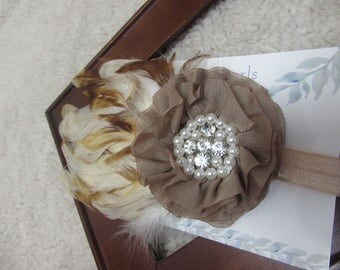 Baby girl headband, Newborn Headband, Feather Headband, Great Gatsby, Photo Prop, Vintage baby, Brown Headband, Baby Feather bow, baby bow