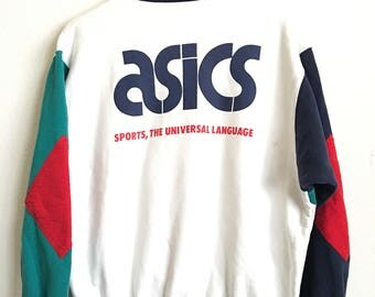 1990s ASICS TIGER The Choice Of Fanatics Distressed Vintage Pullover Sweater // Size Xxlarge