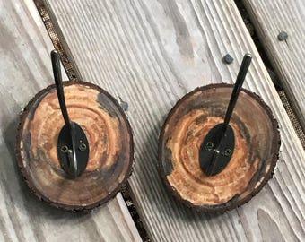 Towel hooks - wood slice towel hook - coat hook - wood slice coat hook - rustic hook - bathroom hook - rustic decor