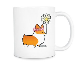 Flower Power Corgi 11oz Ceramic Mug | Choose Red, Red Tri-Color, Tri-Color | Cute Coffee Mugs | Corgi Lover