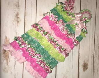 Chevron and Lace Baby Romper