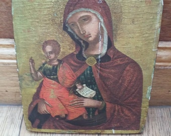 Vintage Orthadox Art Virgin Mary with Child Jesus Religious Print Byzantine Icon