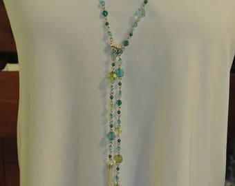 A Pretty Blue and Green Crystal Necklace