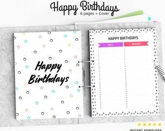Birthdays Planner, Happy Birthdays Planner, Printable 8.5x11, Birthdays Organizer, Instant Download