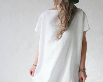 LINEN dress OVERSIZED white LOOSE Leinenkleid tunic dress
