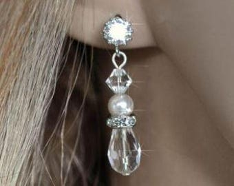 Handmade Swarovski Pearl, CZ and Crystal Dangle Bridal Earrings, Bridal, Wedding (Pearl-559)