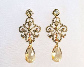 Handmade Gold Crystal & Swarovski Golden Shadow Chandelier Crystal Rhinestone Earrings, Bridal, Wedding (Sparkle-2496)