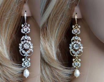Rhodium or Yellow Gold Vintage Inspired Crystal Rhinestone and Pearl Long Chandelier Dangle Earrings, Bridal, Wedding (Pearl-813)