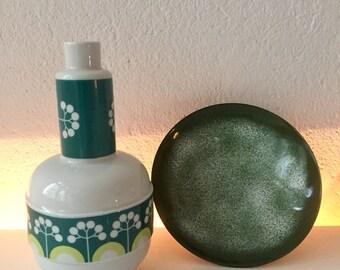 Vase light Manufactory DDR * 1960 * flower vase white and green * GDR making manufactory