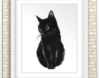 Black Cat Art Cat Watercolor Print Crazy Cat Lady My Cats Are Print Watercolor Kid Wall Cat Painting Art Cat Nursery Art Gift Art Pet Lover