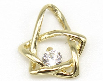 14k Solid Yellow Gold Star Pendant 863 Cubic Star Pendant
