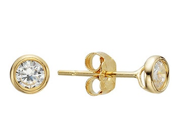 14k Solid Yellow Gold Stud Earrings Anely 2013 Charming Circle Design Lovely