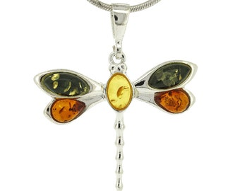 Lola Dragonfly Pendant, Baltic Amber Dragonfly, Cognac Amber Dragonfly, Green Amber Dragonfly, Dragonfly Necklace, Dragonfly Jewellery