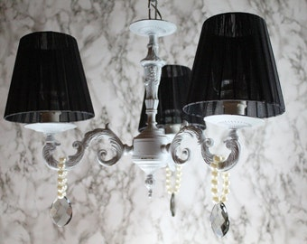 Ceiling lamp in bronze, 3 lights, shabby style, elegant, DIY, vintage, light grey, eco friendly, glass drops and pearls