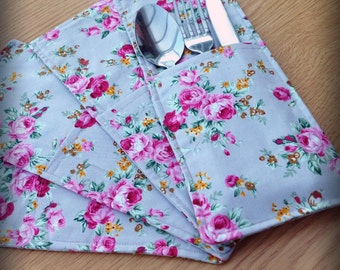Floral cutlery pockets, tableware, table decoration, flower print, kitchenware, dinner party accessories