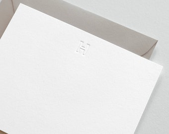 Blind Embossed Initial Stationery  |  Set of 25 Letterpress Printed Cards