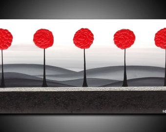"""ORIGINAL TEXTURED PAINTING abstract  40""""  tree, leaves, red ,black, silver, canvas, art deco"""