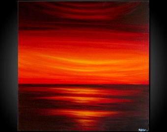 "Original, PAINTING on Canvas, landscape/Seascape, sunset , 23.5"" X 23.5"", Wall Art, Modern, Contemporary"