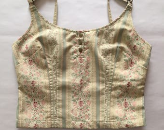barocco crop top | 1990s tapestry bustier top | barocco top
