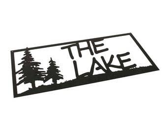 Lake House Decor, Lake Decor, Lake Signs, Lake, Cabin Decor, Lake Life, Lake House Sign, The Lake Sign, Black Metal Wall Decor, Campfire Bay