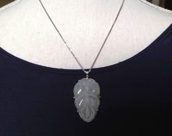 Jadeiet Jade hanger blad  - Icy Wit  (klasse A) - uit Birma