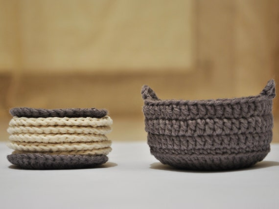 Handmade Crochet Basket : Handmade crochet basket and make up removers scrubbies