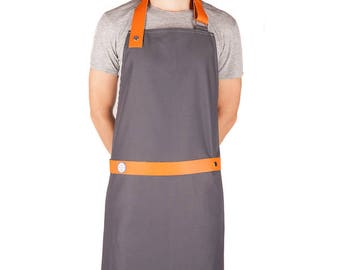 Apron blue white Cook - the strapped - gray / strap leather Orange - made in France