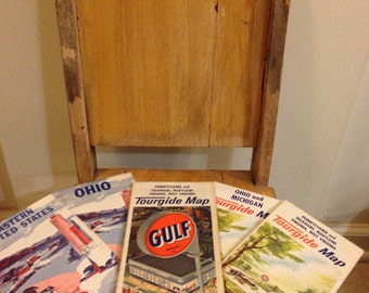 Vintage Gas station road maps/lot(5) Gulf and American oil co. travel maps/ Tourgide maps