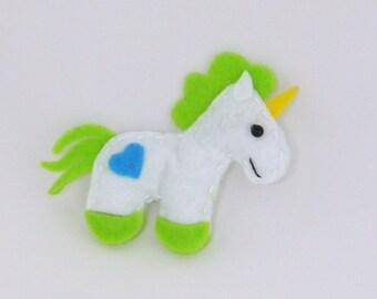 Unicorn Felt Fridge Magnet Green Handsewn (Kitchen Decoration)