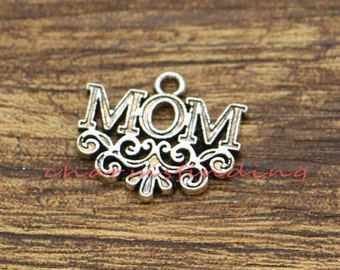 15pcs Mom Charm Mother Family Word Charms Antique Silver Tone 18x20mm cf1236