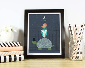 "Night On The Town Print 8"" x 10"", Nursery Art, Nursery Decor"