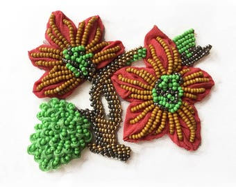 Pazuki | Large Coral Flower & Bud - Embroidery Patch