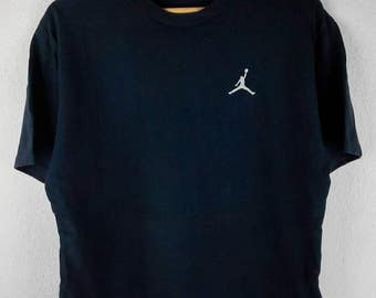 RARE!!! Nike Air Jordan Small Logo Crew Neck Dark Blue Colour T-Shirts M Size