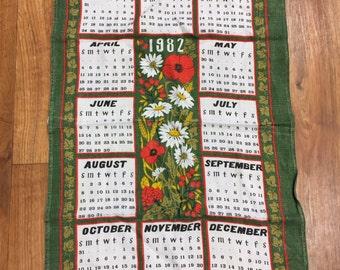 1982 Calendar Tea Towel Made for Oxfam Flowers