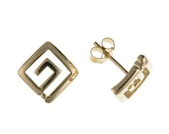9ct Yellow Gold Greek Key Design Stud Earrings