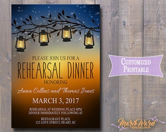 Printable Lanterns and Fireflies Rehersal Dinner Invitation