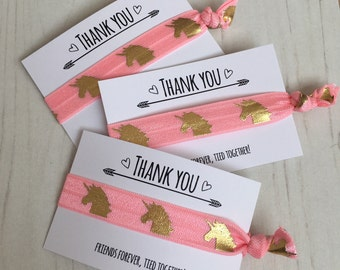 Unicorn hair ties thank you party favour