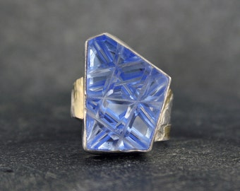 Carved Blue Quartz Gemstone Ring, Large Contemporary Statement Ring, One of a Kind Ran Armstrong Ring, Hand Cut & Carved Blue Quartz