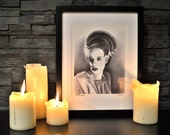"Bride of Frankenstein, Classic Horror Monsters, Limited Edition Print, 8"" x 10"", signed and numbered, Art, Drawing, Illustration, HALLOWEEN"