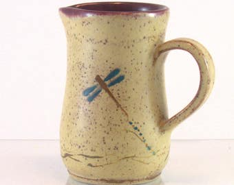 Ceramic pitcher, pottery creamer.  Wheel thrown,  9 oz pottery jug for cream or syrup with dragonfly design.